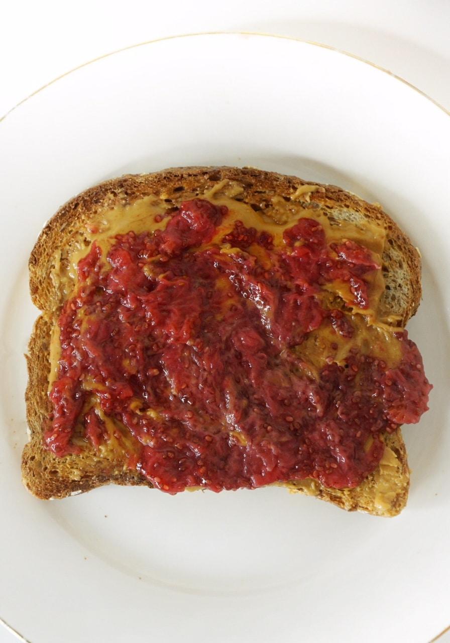 PB & J Sandwich with Strawberry Chia Seed Jam